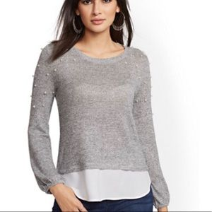 NWT NY&C Sparkle Pearl Sweater